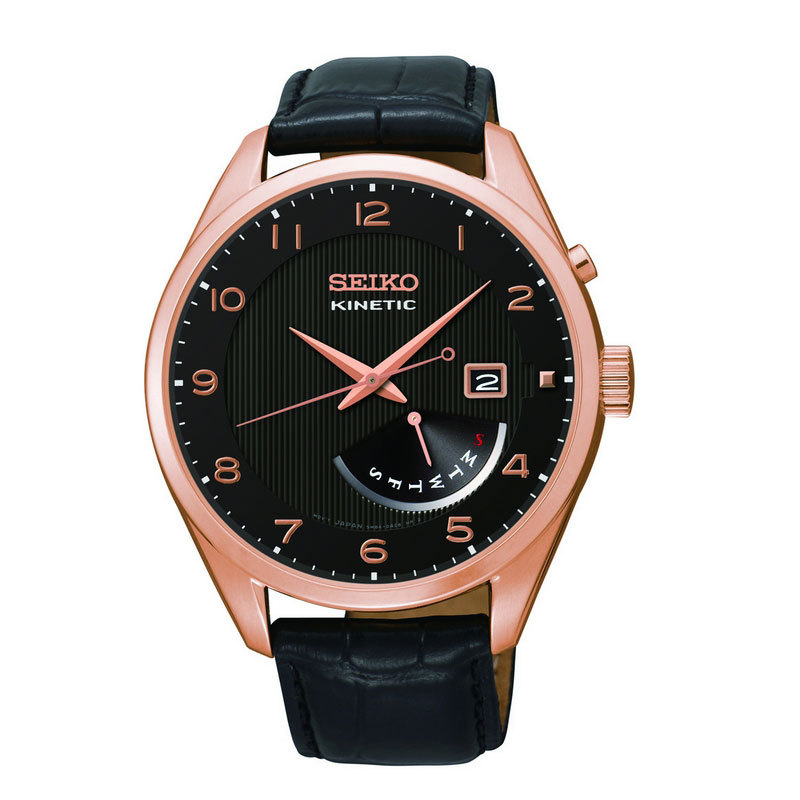 Gents Rose Gold Plated Seiko Kinetic WIth Power Reserve