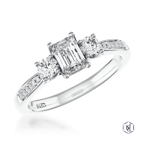 emerald cut platinum three stone diamond band engagement ring