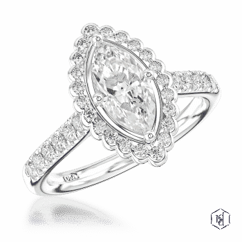 marquise cut platinum cluster diamond band engagement ring