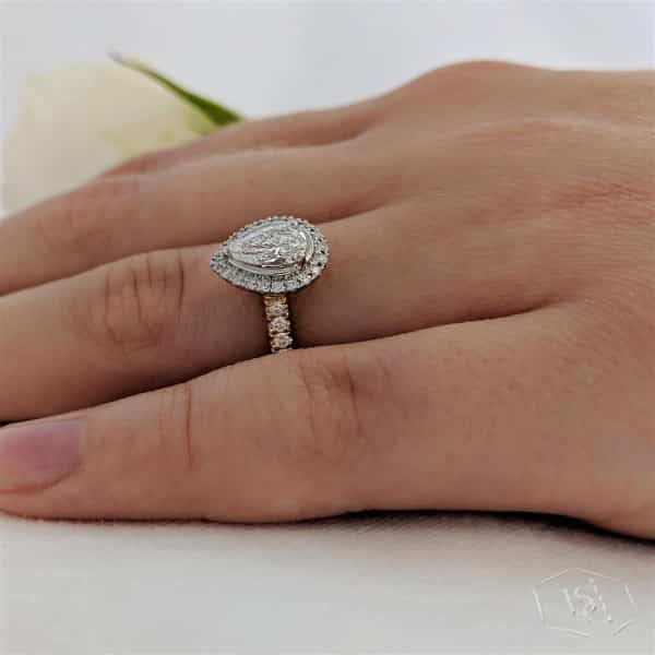 pear shape cut 18ct yellow gold shank and platinum head cluster diamond band engagement ring