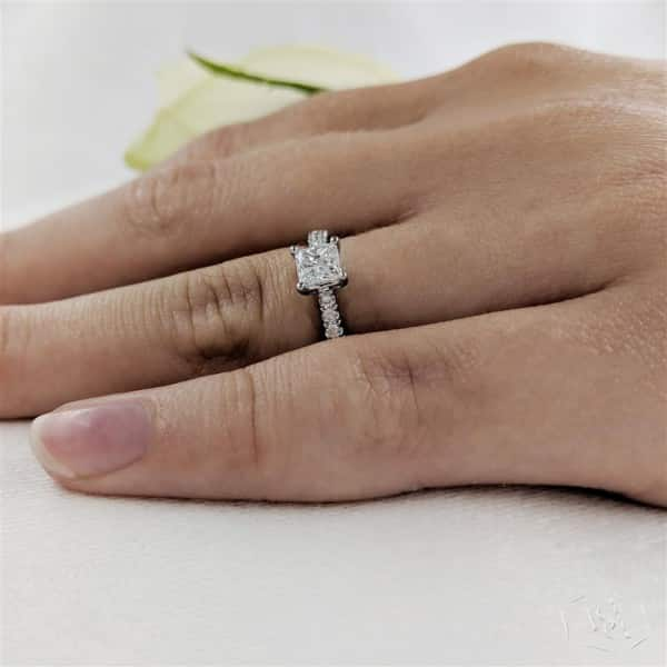 princess cut platinum solitaire diamond band engagement ring