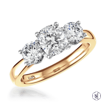 cushion cut 18ct yellow gold shank and platinum head three stone plain band engagement ring