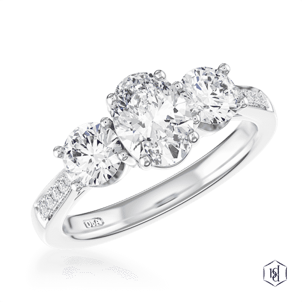 oval cut platinum three stone diamond band engagement ring