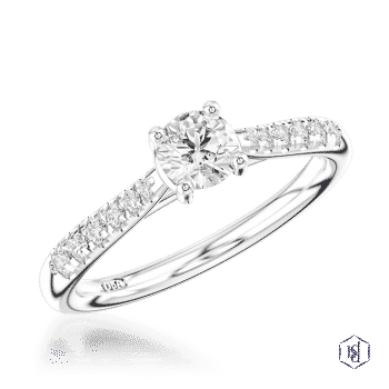 round brilliant cut platinum solitaire diamond band engagement ring