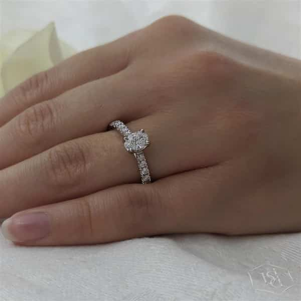 oval cut platinum solitaire diamond band engagement ring