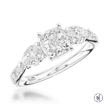 cushion cut platinum three stone diamond band engagement ring