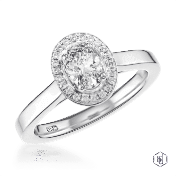 oval cut platinum cluster plain band engagement ring