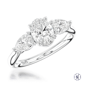 oval cut platinum three stone plain band engagement ring