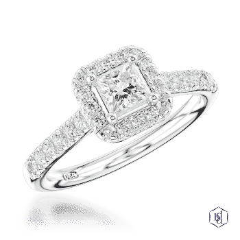 princess cut platinum cluster diamond band engagement ring