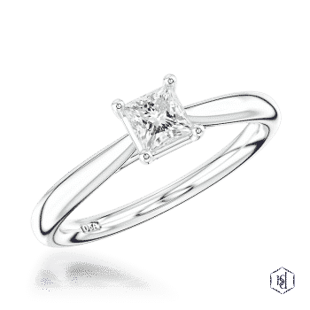 princess cut platinum solitaire plain band engagement ring