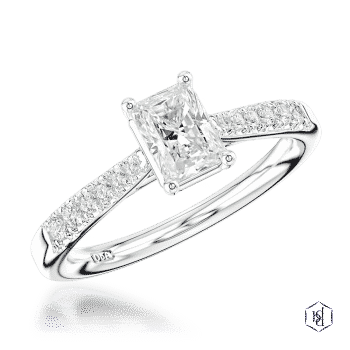 radiant cut platinum solitaire diamond band engagement ring
