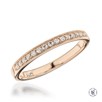 round brilliant cut 18ct rose gold bridal diamond band