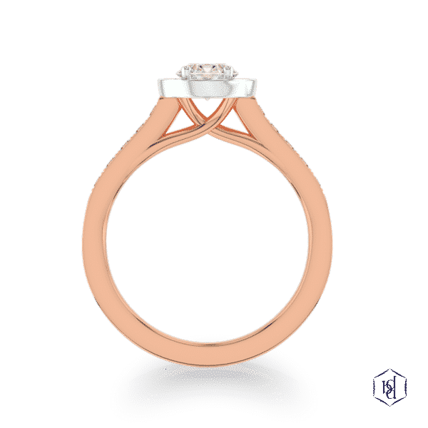 round brilliant cut 18ct rose gold shank and platinum head cluster diamond band engagement ring
