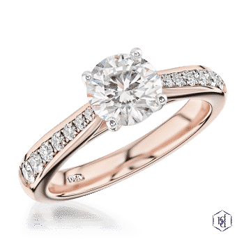 round brilliant cut 18ct rose gold shank and platinum head solitaire diamond band engagement ring