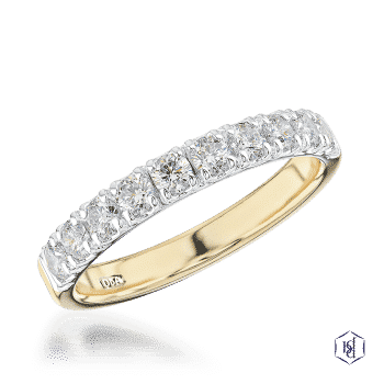 round brilliant cut 18ct yellow gold shank and platinum head bridal diamond band