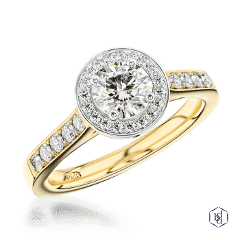 round brilliant cut 18ct yellow gold shank and platinum head cluster diamond band engagement ring