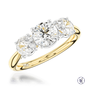 round brilliant cut 18ct yellow gold shank and platinum head three stone plain band engagement ring