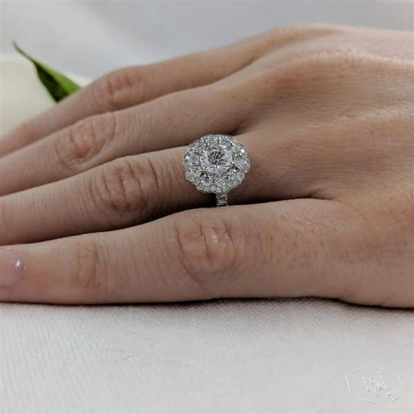 round brilliant cut platinum cluster diamond band engagement ring