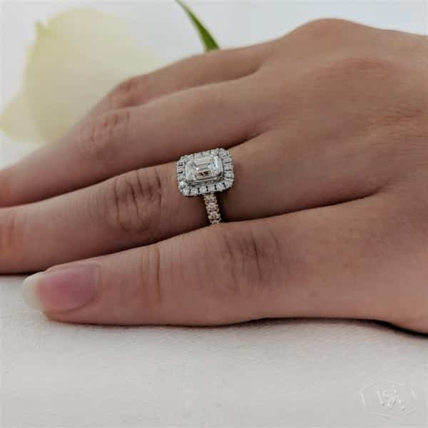 emerald cut 18ct yellow gold shank and platinum head cluster diamond band engagement ring