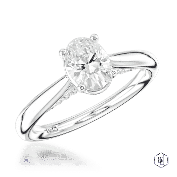 oval cut platinum solitaire plain band engagement ring