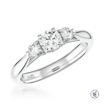 round brilliant cut platinum three stone plain band engagement ring