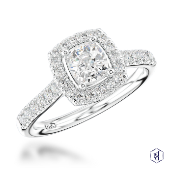 cushion cut platinum cluster diamond band engagement ring