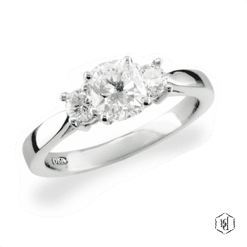 cushion cut platinum three stone plain band engagement ring
