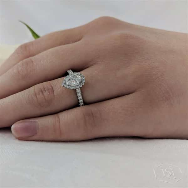 pear shape cut platinum cluster diamond band engagement ring