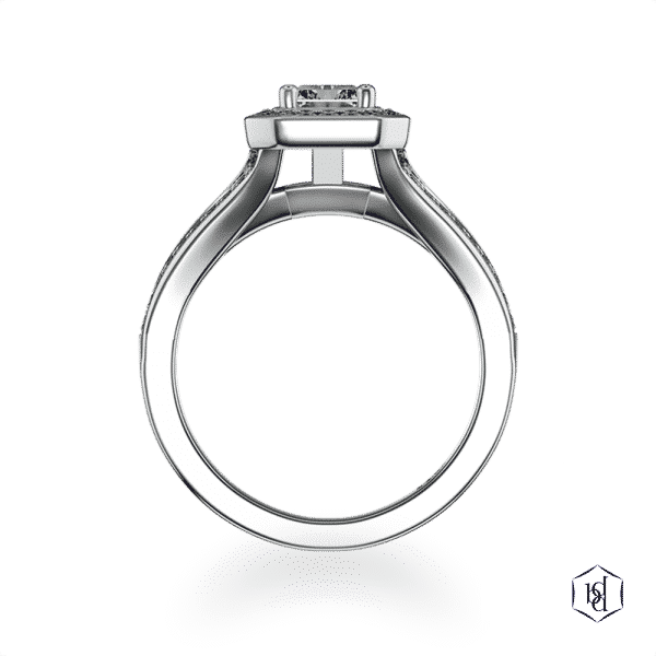 radiant cut platinum cluster diamond band engagement ring