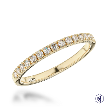 round brilliant cut 18ct yellow gold bridal diamond band