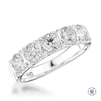 round brilliant cut platinum bridal plain band