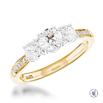 round brilliant cut 18ct yellow gold shank and platinum head three stone diamond band engagement ring