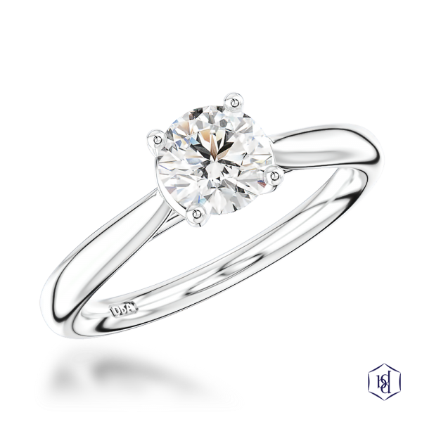 round brilliant cut platinum solitaire plain band engagement ring