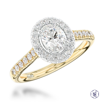 oval cut 18ct yellow gold shank and platinum head cluster diamond band engagement ring