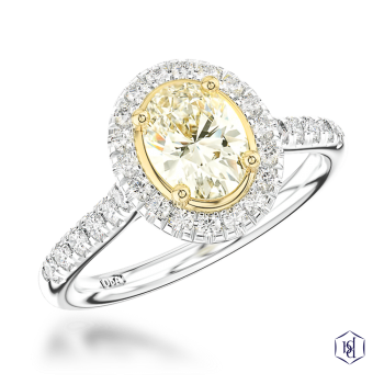 oval cut platinum shank and18ct yellow gold head cluster diamond band engagement ring