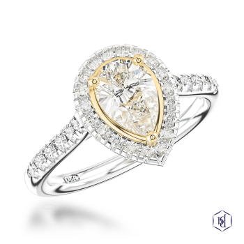 pear shape cut platinum shank and18ct yellow gold head cluster diamond band engagement ring