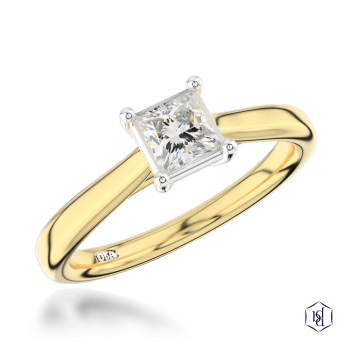 princess cut 18ct yellow gold shank and platinum head solitaire plain band engagement ring