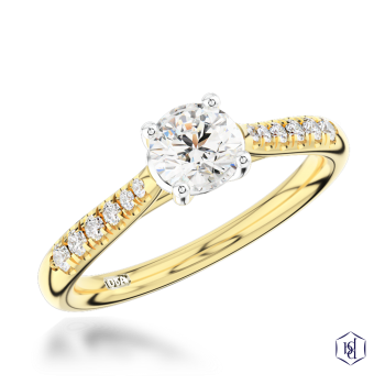 round brilliant cut 18ct yellow gold shank and platinum head solitaire diamond band engagement ring