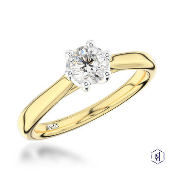 round brilliant cut 18ct yellow gold shank and platinum head solitaire plain band engagement ring