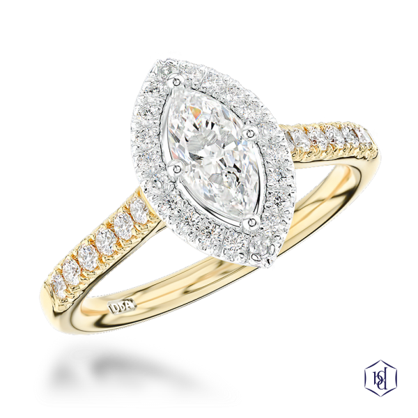 marquise cut 18ct yellow gold shank and platinum head cluster diamond band engagement ring