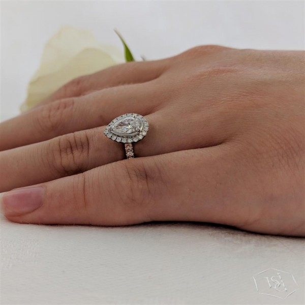pear shape cut 18ct rose gold shank and platinum head cluster diamond band engagement ring