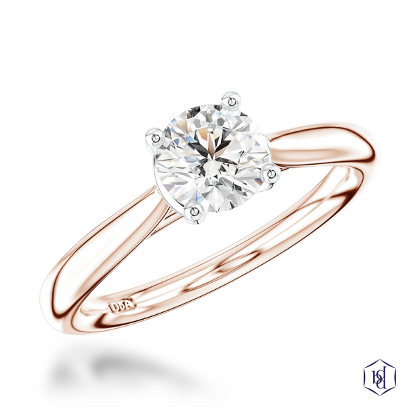 round brilliant cut 18ct rose gold shank and platinum head solitaire plain band engagement ring