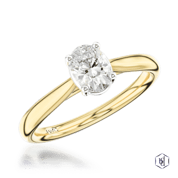 oval cut 18ct yellow gold shank and platinum head solitaire plain band engagement ring