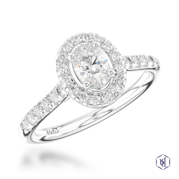 oval cut platinum cluster diamond band engagement ring